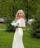 The Jilly - Off Shoulder Lace Sleeve Mermaid Bridal Gown