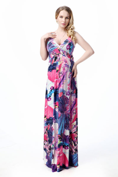 Boho Chic Summer V-Neck Jumpo Pastel FLoral Maxi Dress   – Plus Size up to 20W