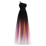 The Katie – Hand Dyed One Shoulder Ombre Chiffon Evening Gown