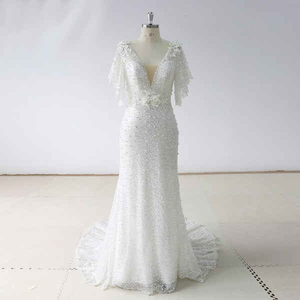 The Kileen Pearls & Sequins Vintage Style Wedding Dress - On Sale $200 Off w/ Free US Shipping!