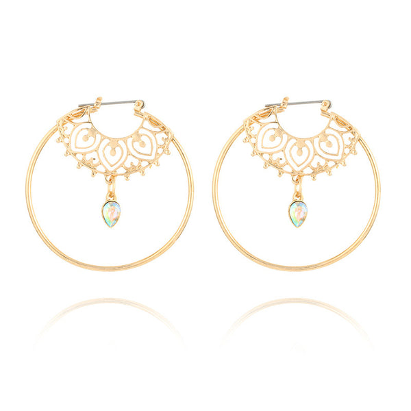 Kiss of Love Crystal Tear Drop Hoop Earrings