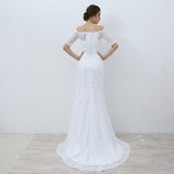 Vintage Style Off Shoulder 3/4 Sleeve Mermaid Style Gown