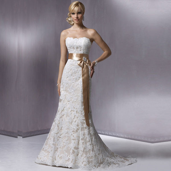 Sweetheart Lace and Satin Sash A-Line Dress :: Autumn Collection