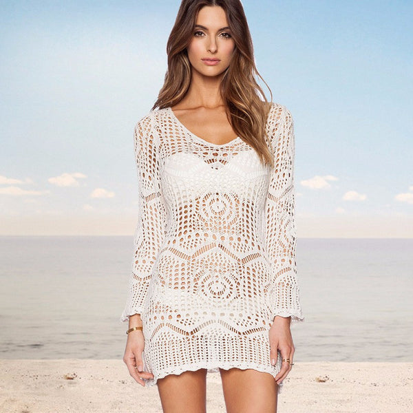 Bohemian Lace Crochet Mini Dress Cover Up