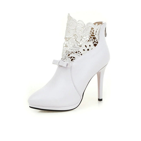 Front Lace Ankle Wedding Boots