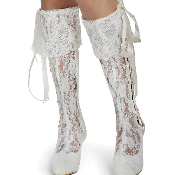 Boho Ruffles and Lace Up Bridal Boots