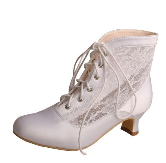 Lace & Satin Bridal Ankle Boot
