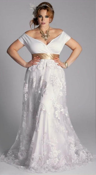SAMPLE Bohemian Chic Off-Shoulder Lace Sash Gown - Size 22W
