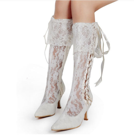 Satin Tie Lace Bridal Boots.