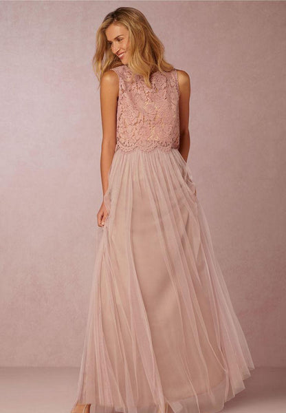 Boho Style 2-Piece Lace and Tulle Bridesmaids Dress :: Unlimited Color combinations.