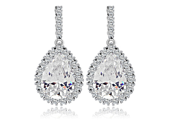 Large Tear Drop Luxury Bridal White Gold Cubic Zirconia Earrings :: Available in 3 Colors