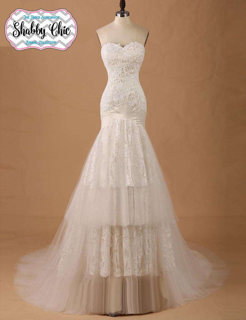 Shabby Chic Layers of Lace Sweetheart Mermaid Gown