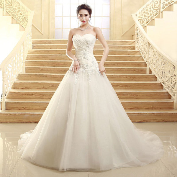 The Leanna - Ruched beaded A-Line Wedding Dress