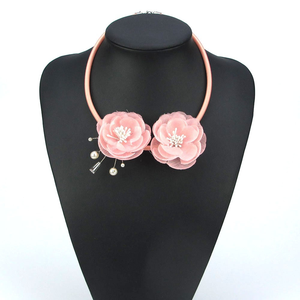 Handmade Boho Pink Rose w/Pearl Spray Floral Necklace