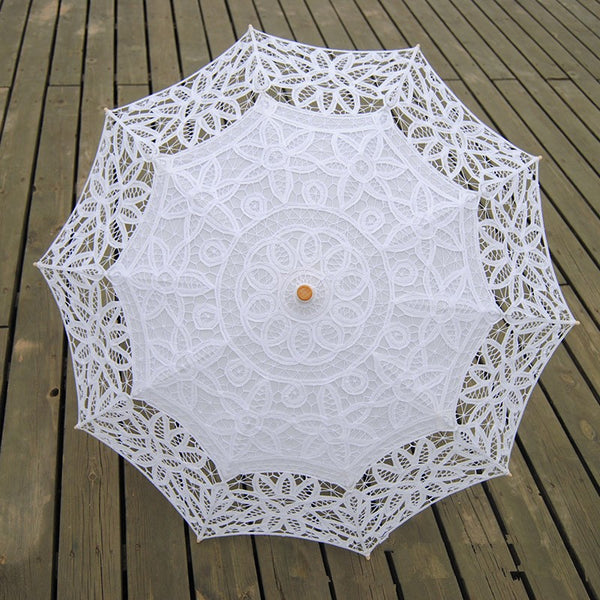 The Lilly – Wide Lace Bridal Umbrella in White or Ivory