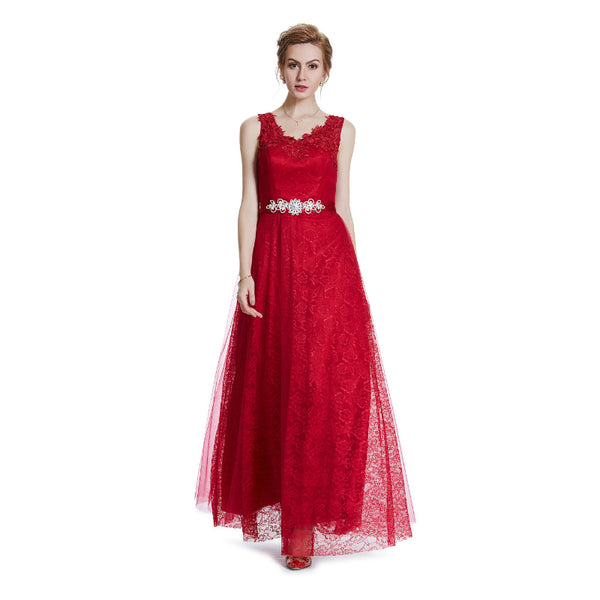 The Liola – Red Lace Holiday Party Evening Gown