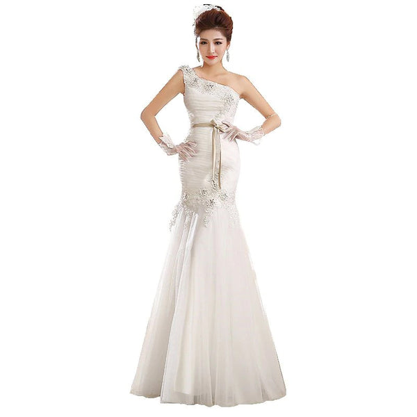 The Liu - One Shoulder Ruched Hand Embellished Mermaid Gown