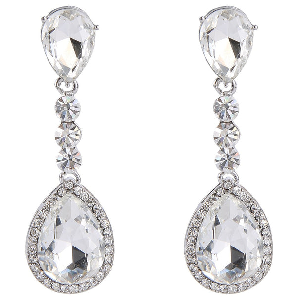 Dangling Tear Drop CZ Bridal Earrings