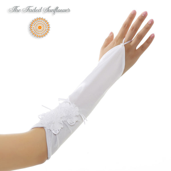 Boho Opera Length Fingerless Satin Bridal Gloves