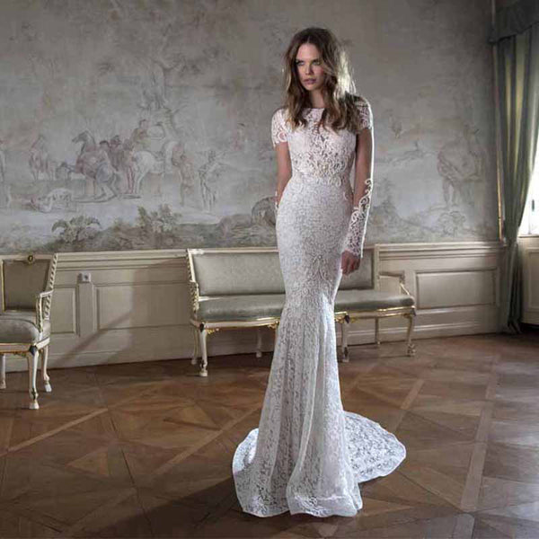 Long Sleeve Lace Mermaid Style Gown – Avail up to Plus Size 26W :: Autumn Collection