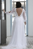 Split Long Sleeve Open Back Boho-Hippie Style Plus Size Wedding Gown :: Up to Size 28W :: Use  Code: BOHO100 for $100 off & Free US Shipping!