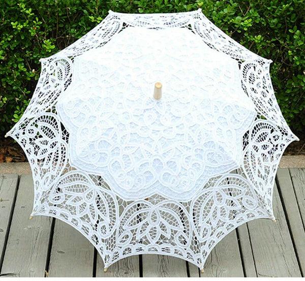 The Lotus Lace Bridal Umbrella in White or Ivory