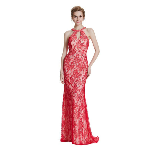 The Lucy Floral Lace Lo-Back Evening Gown