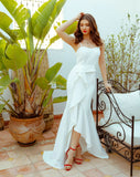 The Marzi :: Ruffle Slit Sheath Style Wedding Dress