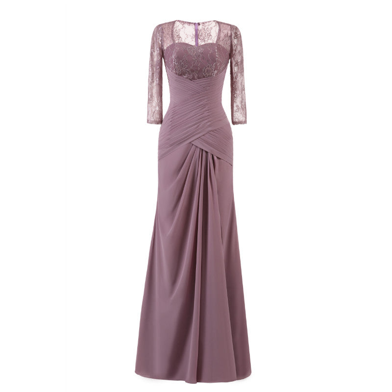 The Mona – Lavender Plum Chiffon & Lace Evening Gown