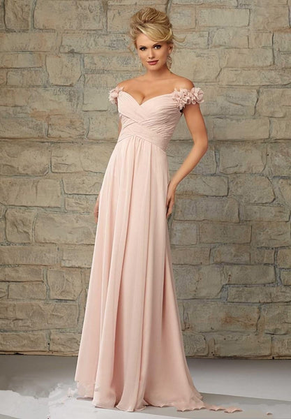 Elegant Off Shoulder 3D Floral Bridesmaids Dress