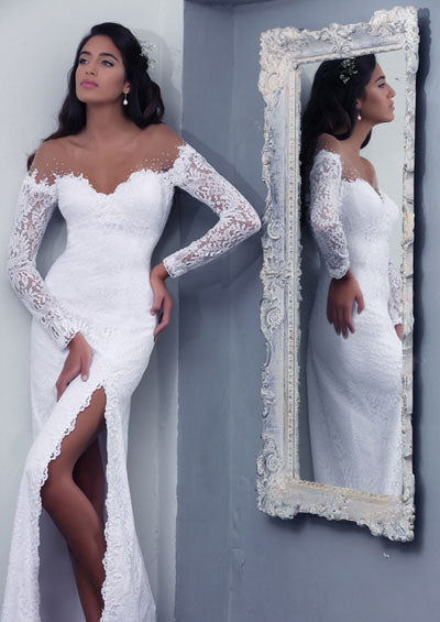 Vintage Style  Off Shoulder Long Sleeve Sexy Slit Lace Mermaid Gown :: Use Code BOHO100 For $100 Off & Free US Shipping!