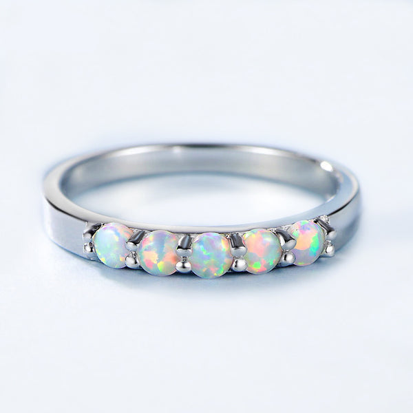 Luxury Brand Sterling Silver Opal Wedding Band