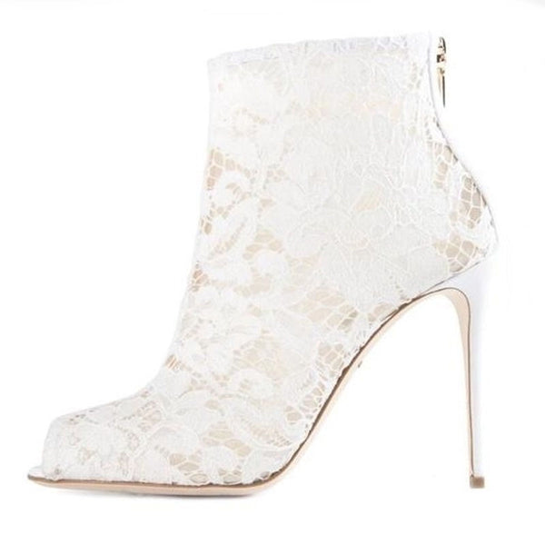 Lace Peep Toe High Heel Bridal Boot