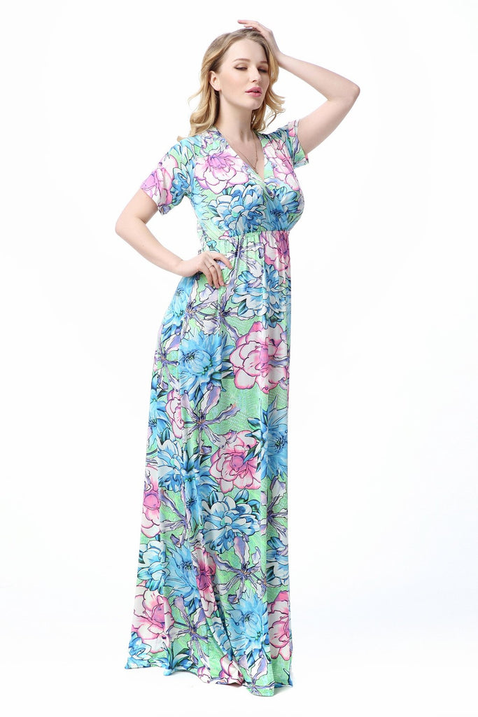 Boho Chic Summer Pastel Floral Maxi Beach Dress – Plus Size up to 20W