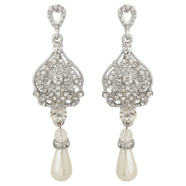 Pearl Tear Drop Bridal Earrings