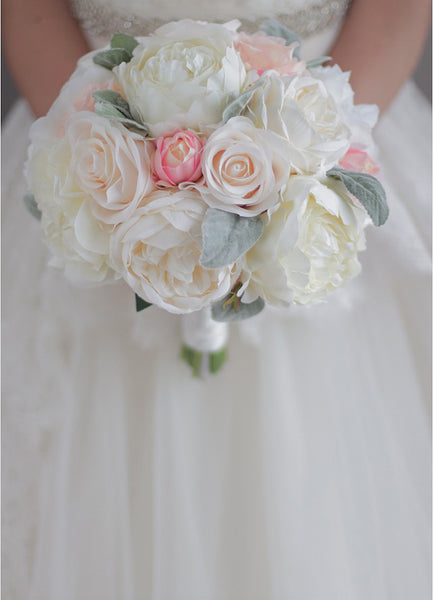 Pink & Ivory Peony Wedding Bouquet