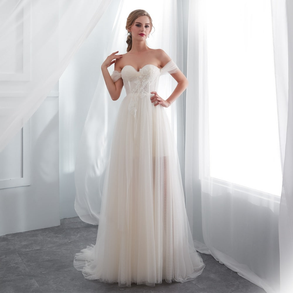 The Phoebe :: Off Shoulder Dot Tulle Corseted beach Wedding Dress