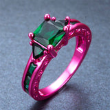 Hot Pink Gold & Emeralds Engagement Ring