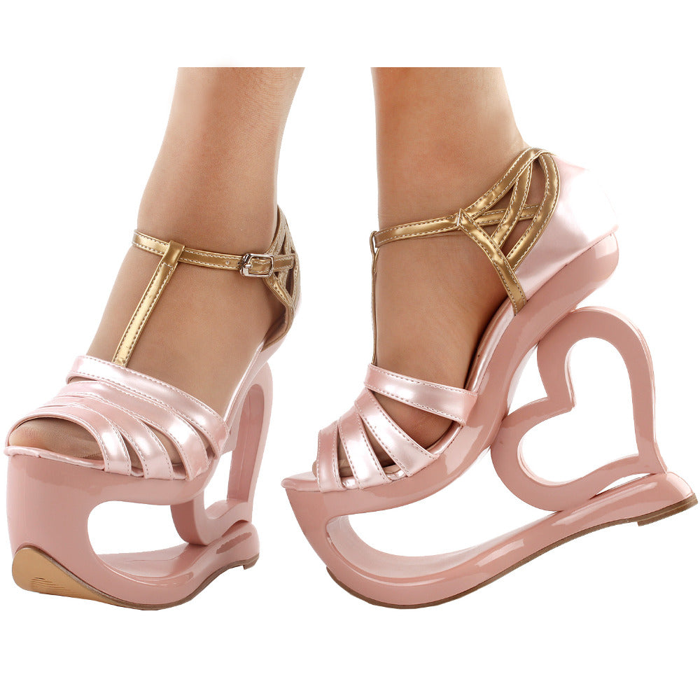 Soft Metallic Pink Sculpted Heart Platform Shoes