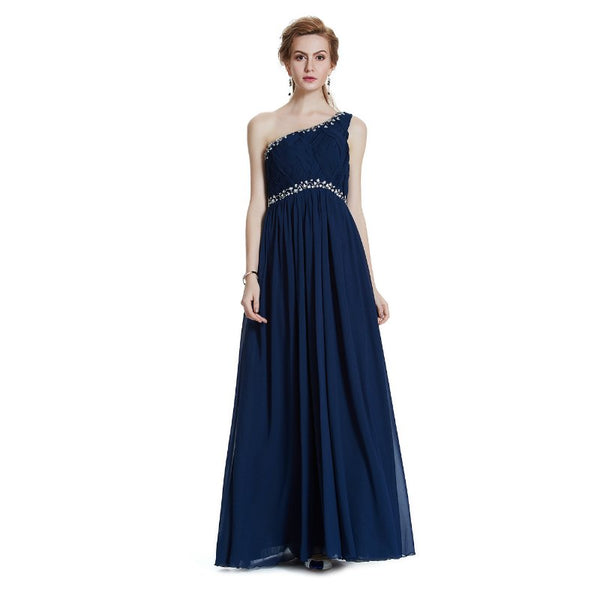 The Pita One Shoulder Crystal Trimmed Evening Gown