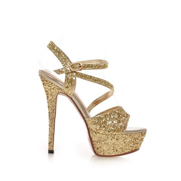 Boho Sexy Bling Platform High Heel Bridal Shoes  :: Available in 4 Colors  : Up to Size 12
