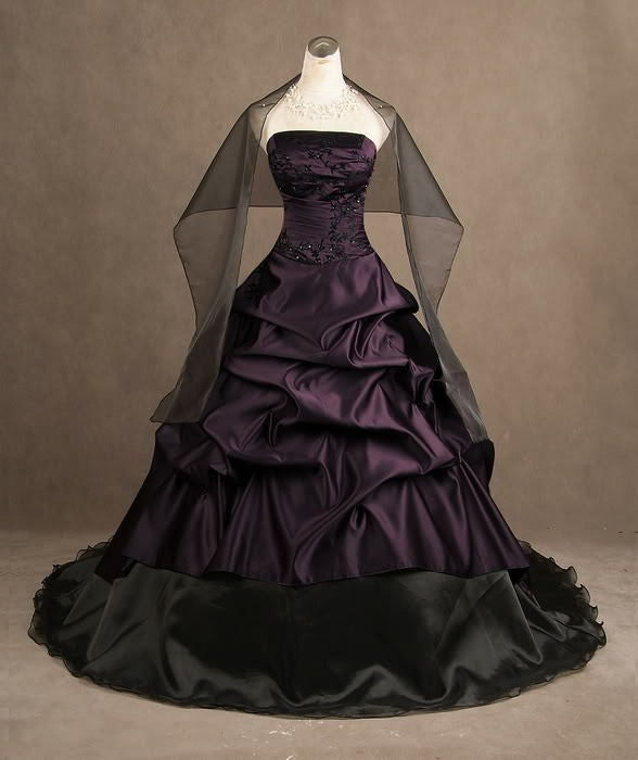 Taffeta Plum and Black Wedding Ball Style Wedding Gown