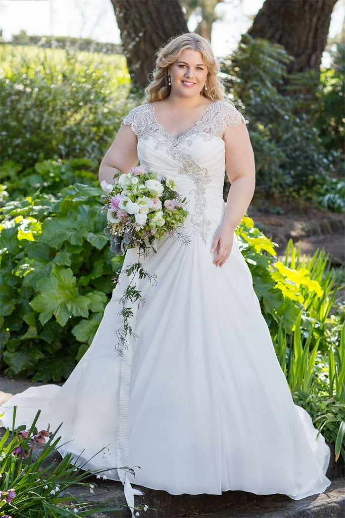 Plus size lace applique wedding dress available up to for Plus size wedding dresses size 32 and up