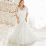 Plus Size Vintage Beaded Lace Wedding Dress- Plus size Up to 28W :: Use Code: BOHO100 For $100 Off & Free US Shipping!