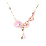 Boho Pink Floral Bridal/Bridesmaids Necklace
