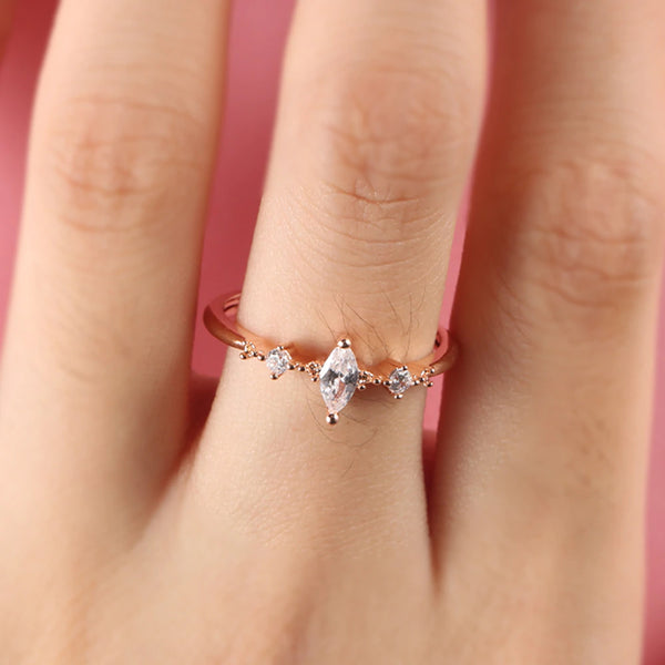 Princess Dainty Marquis Cut 3A CZ Promise or Engagement Ring