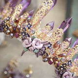Hand Crafted Gold Plated Lavender Crystal & Rose Bridal Tiara with Matching Earrings