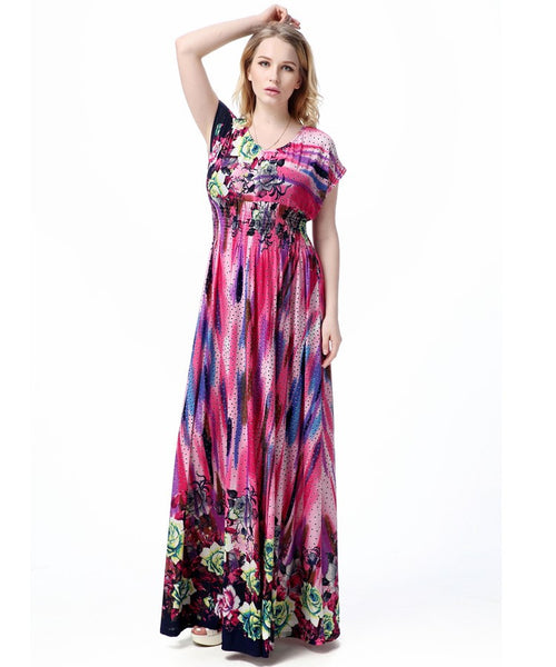 Purple Floral Spash Summer Maxi Dress – Plus Size up to 20W