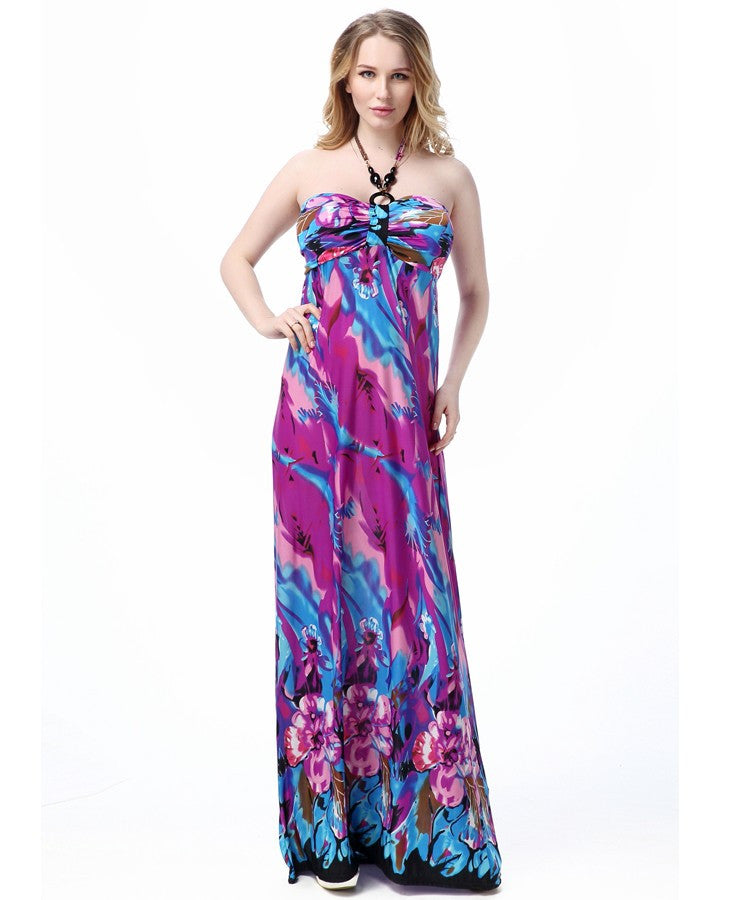 Purple Floral Strapless Summer Maxi Dress – Plus Size up to 20W