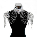 Exquisite High Neck Tassel Sleeve Rhinestone Bolero